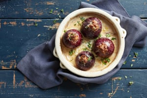Sausage-stuffed onions turn a humble staple veg into the vessel for a warming winter meal.