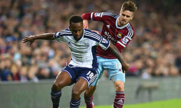 Jenkinson challenges West Brom's Saido Berahino during West Ham's win at the Hawthorns earlier this month.