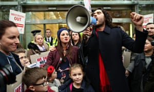 Russell Brand joins in the protests at the New Era estate