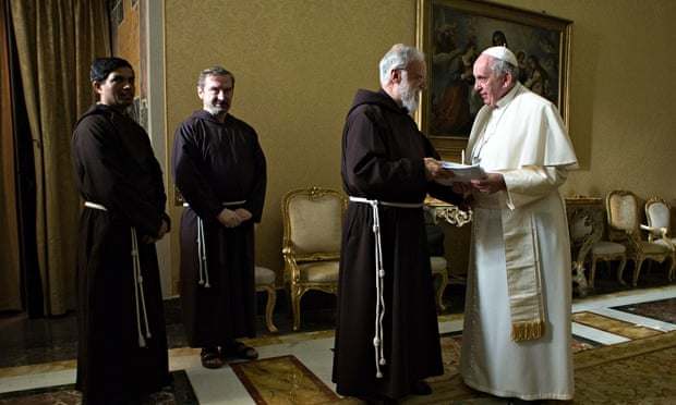 Pope Francis with Franciscan preacher father Raniero Cantalamessa