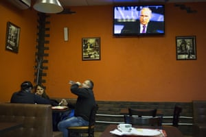People have lunch at a cafe in St.Petersburg, Russia
