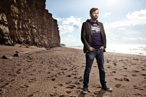 David Tennant on the beach at West Bay in Dorset