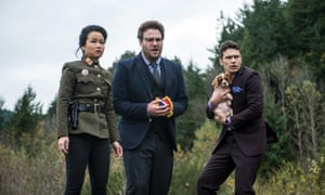 Diana Bang, Seth Rogen and James Franco, in a scene from The Interview.