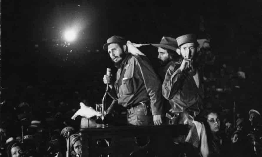 In this 8 January 1959 file photo, Cuba's Fidel Castro speaks to supporters at the Batista military base 'Columbia,' now known as Ciudad Libertad, in Cuba.