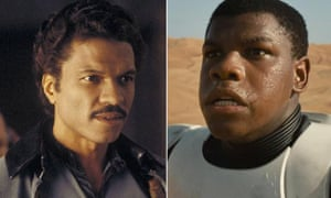Two generations of black Star Wars characters: Billy D Williams as Lando and John Boyega as Finn.