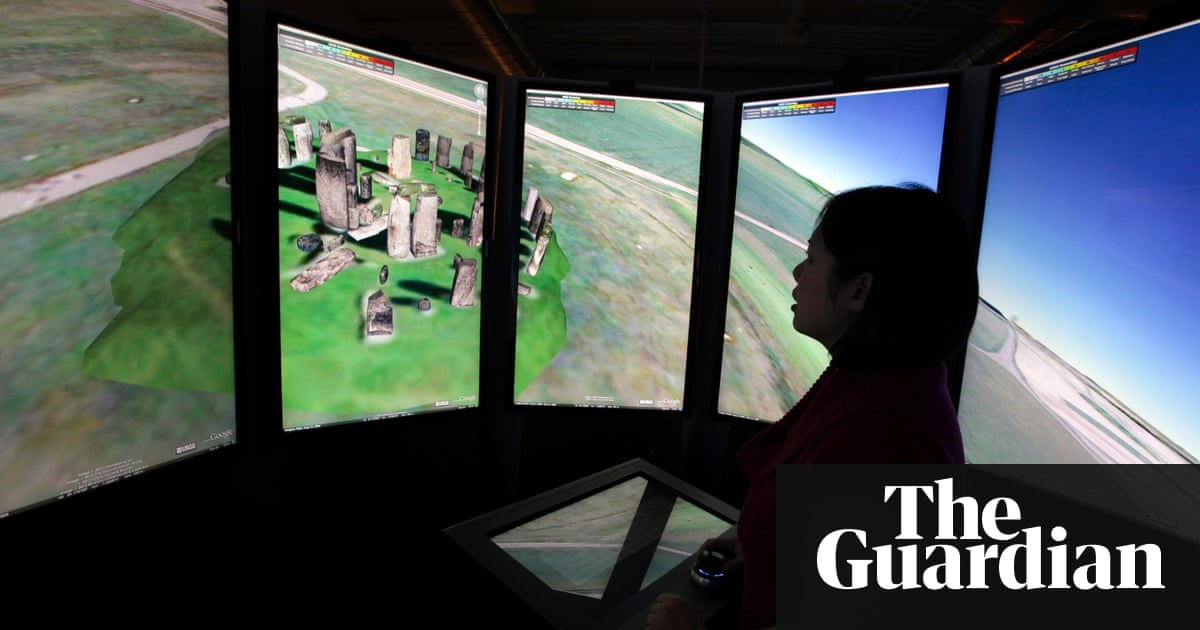 How digital maps are changing the way we understand our world a woman views stonehenge on panoramic google maps screens at the google campus near venice beach gumiabroncs Choice Image