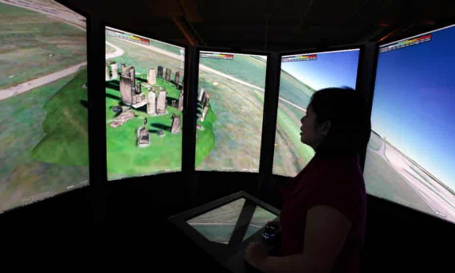 A woman views Stonehenge on panoramic Google Maps screens at the Google campus near Venice Beach, in Los Angeles, California.