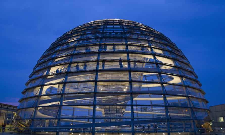 Norman Foster's Reichstag dome at dusk