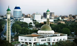 A view of Khartoum, with Gaddafi's egg-like Corinthia in the background.