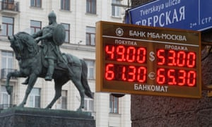 A board showing currency exchange rates, in front of a monument to Prince Yury Dolgoruky who founded Moscow in 1147 on December 1.