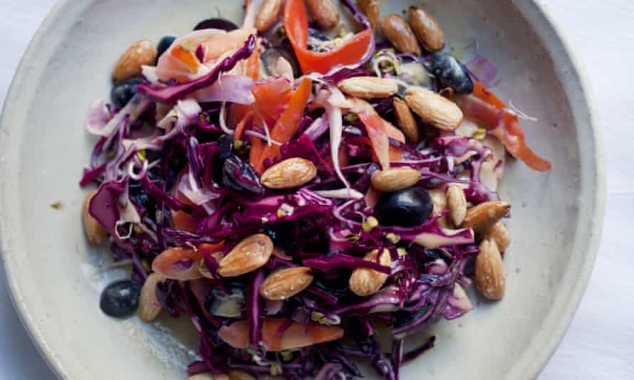 Nigel Slater's red cabbage with fennel and carrot salad recipe on a curved plate