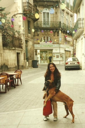 Sam in Paris with her dog, Lucian