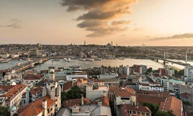 Early morning sky over Istanbul, Turkey, seen from across the Bosphorus