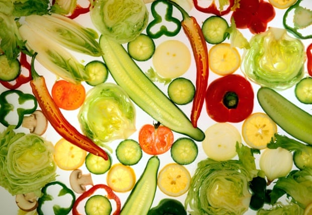 Vegetables and fruit - sliced sections