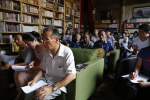 Chinese rural revival  - Ou Ning's Bishan project: Reading event with the villagers at Bishan Bookstore, 2014.