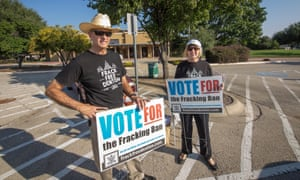 Denton residents Michael Hennen and Susan Vaughan campaign to ban fracking.