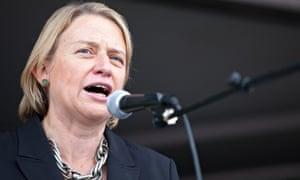 Natalie Bennett addresses a rally in London