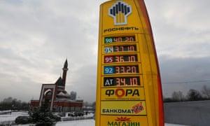 A Rosneft board displays diesel and petrol prices