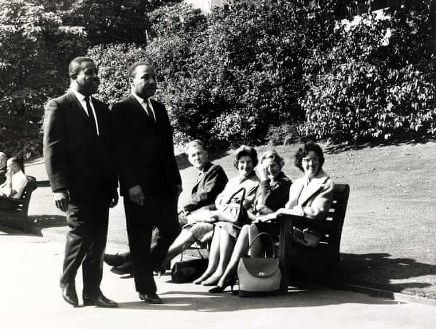 Martin Luther King, on right, with fellow civil rights activist Ralph Abernathy, in a London park, September 1964