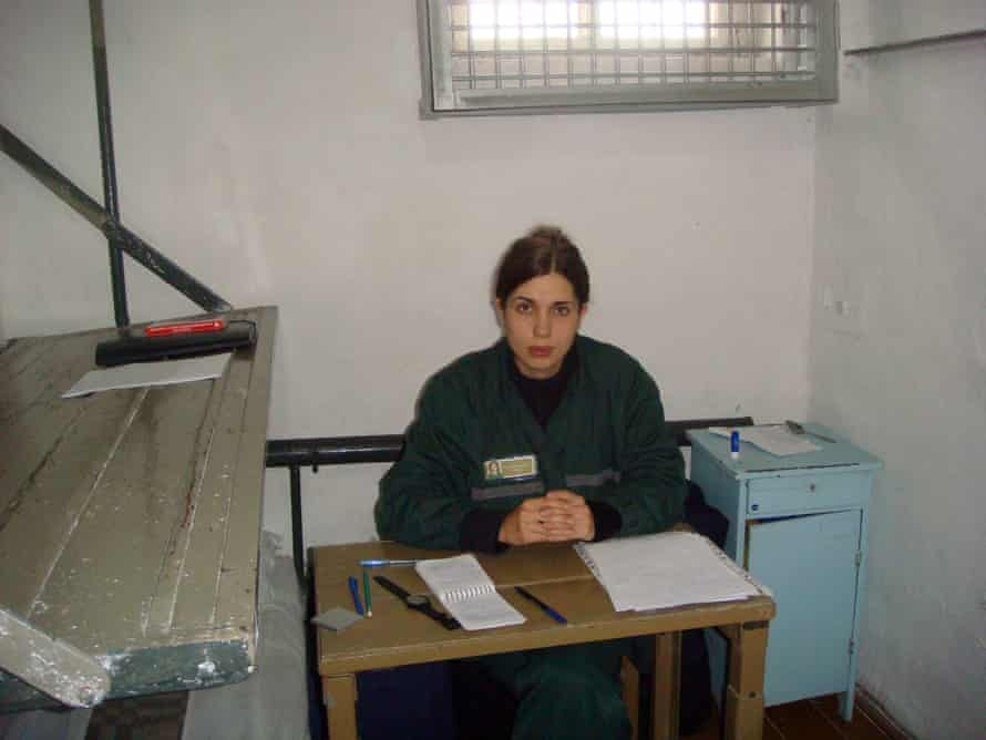 Pussy Riot member Nadya Tolokonnikova in a solitary confinement cell  in prison.