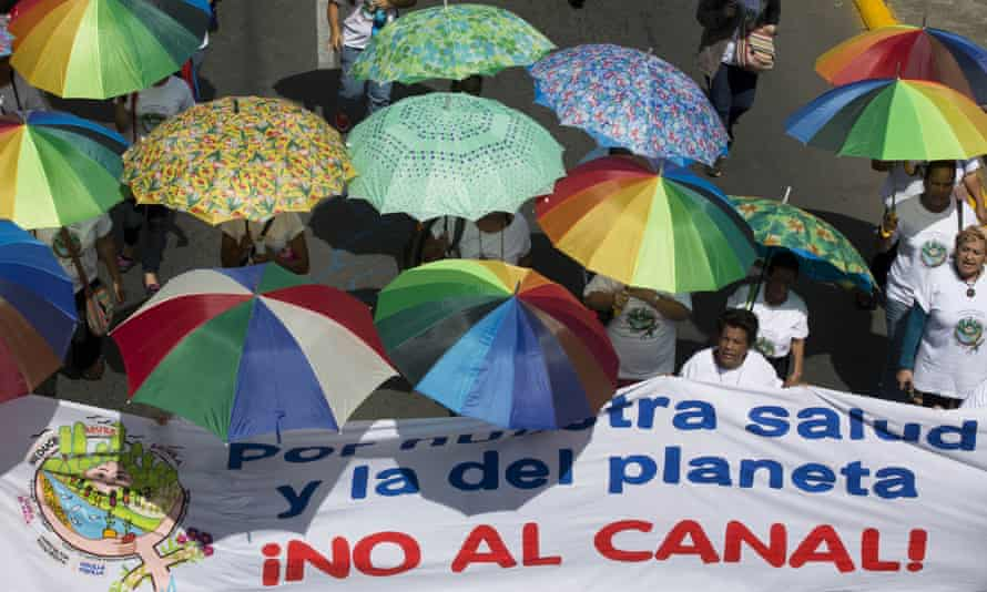 'No to the canal!' Nicaraguans earlier this month protest the proposed building of a canal through Nicaragua - one of the Chinese-backed projects mentioned in US researcher Evan Ellis's new book.