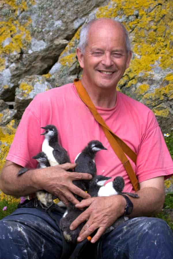 Professor Tim Birkhead's long-term study of guillemots on Skomer island, Wales, was in danger of having its funding cut until he launched a crowdfunding appeal.