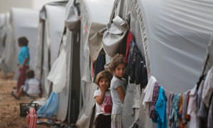 Syrian Kurdish refugee children at a refugee camp in Suruc, on the Turkey-Syria border.