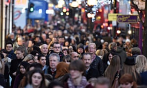 Christmas shoppers on Oxford Street in central London