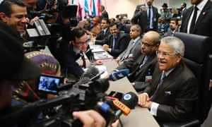 Saudi Arabia's oil minister Ali al-Naimi, right, talks to journalists before a meeting of Opec oil ministers in November.