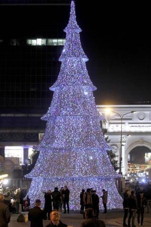 The illuminated Christmas tree in Macedonia's capital Skopje