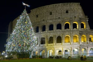 The traditional Christmas tree outside the Coliseum in Rome, Italy