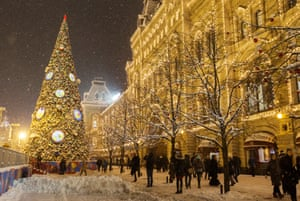 A snowy scene outside Moscow's GUM department store in Red Square