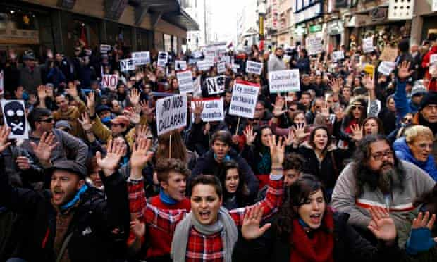 Demonstrations against Spanish government's new anti-protest law in Madrid