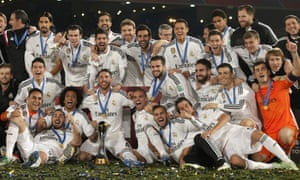 The Real Madrid players seem overjoyed at winning the Club World Cup for the first time.