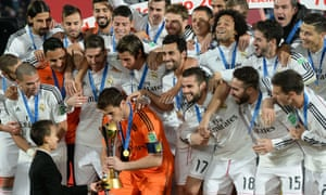 Real Madrid captain Iker Casillas receives the trophy from Morocco's Prince Moulay Hassan.