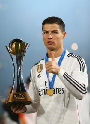 Cristiano Ronaldo can hardly contain his excitement at winning the trophy.