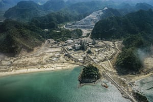 Cement factory: aerial shot of the area around Calang showing the lost infrastructure