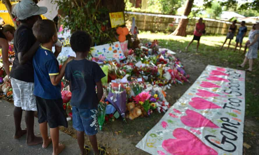 A memorial in Cairns to the eight children found dead.
