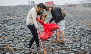 Young university students volunteering in Aberystwyth