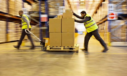 UK workers in a warehouse