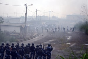 Libreville, Gabon Protesters clash with police in the Rio district during the demonstration calling for the resignation of Gabonese President Ali Bongo Ondimba