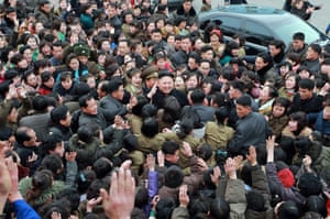 Pyongyang, North Korea Kim Jong-Un is surrounded by well-wishes on a visit to the Kim Jong-Suk Pyongyang Textile Mill