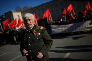 Gori, Georgia Zaur Tsurtsumia, 78, depicts Soviet dictator Josef Stalin during a rally marking Stalin's birthday anniversary in his hometown