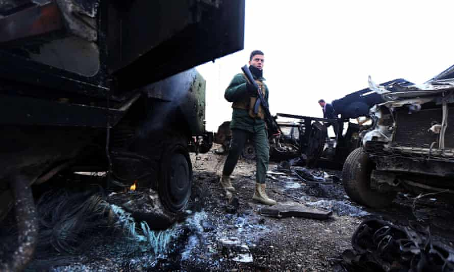 The aftermath of a suicide attack carried out by Islamic State in northern Iraq.