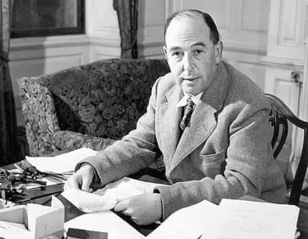 CS Lewis in his Cambridge study, early 1950s.