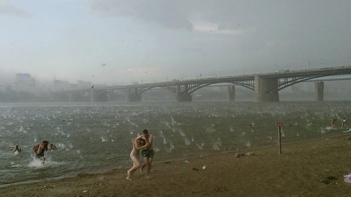 hailstorm on the beach at the Ob river, in Novosibirsk in western Siberiain siberia