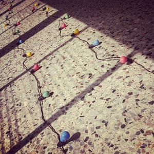 Christmas lights on the floor in the corridor of the Temple of Justice, #Monrovia #Liberia.