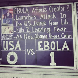 #Ebola Attacks Creators? The latest post on The Daily Talk, #Monrovia's favourite chalkboard newspaper reflects conspiracy theories that the US government deliberately introduced #Ebola to #Liberia #Eboladiaries @eboladiaries