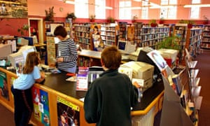 UK, Cheshire, Stockport, Town Centre, Edgeley Library, users at information desk