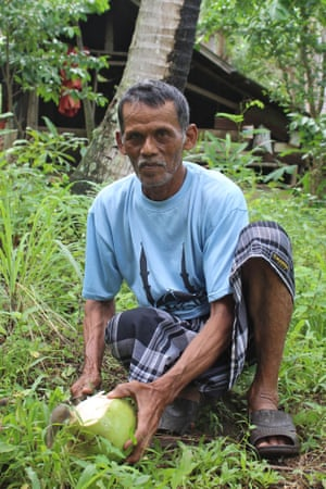 Muhammad Dahlan in his garden in Nusa village, Aceh, Indonesia